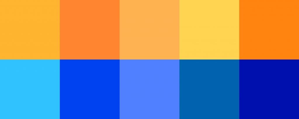 Orange and blue contrasting squares