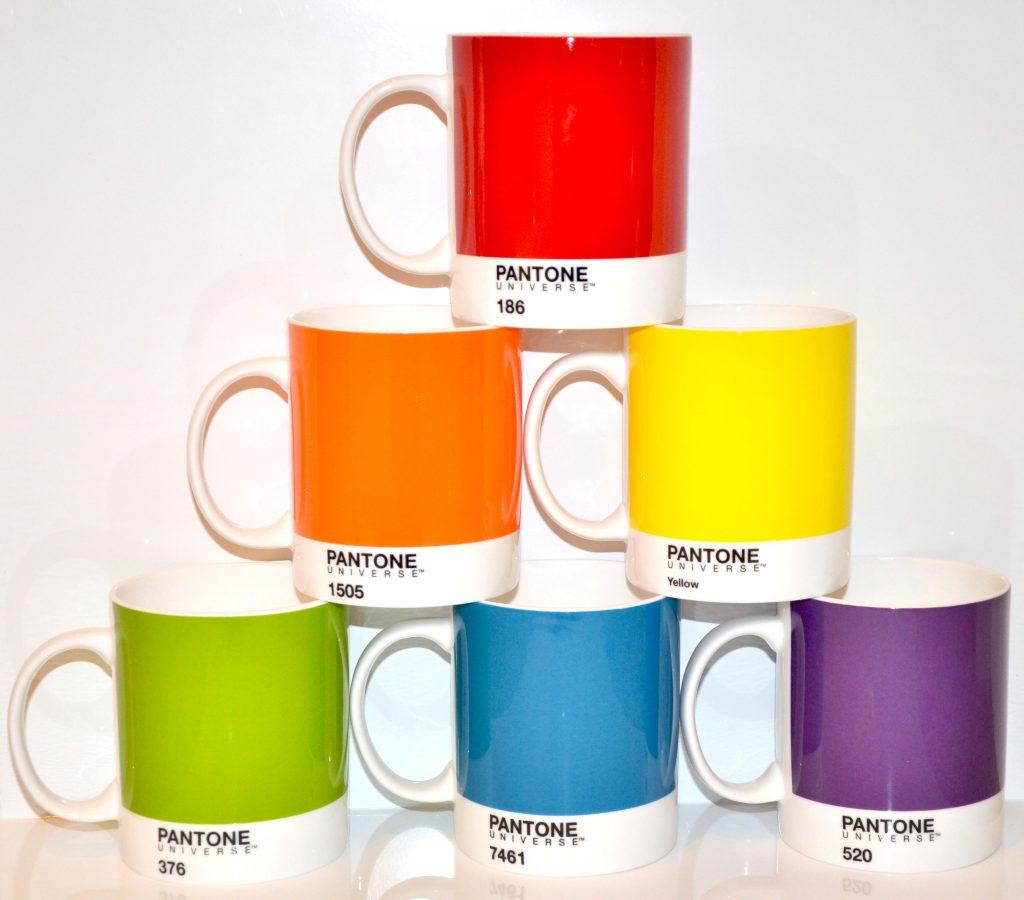 6 brightly-coloured Pantone mugs