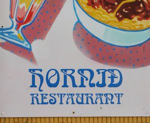 1960s-style lettering on a cafe fascia in Iceland.