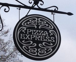 1960s-style lettering at Pizza Express.