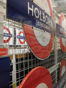 Station signs at the London Transport museum.