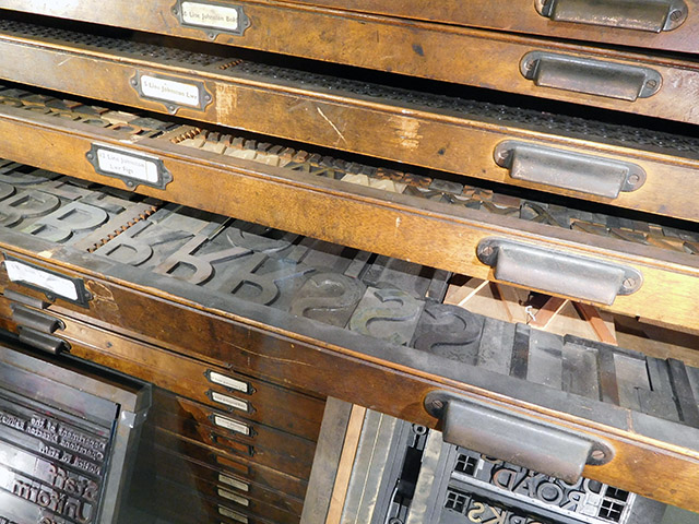 A type case containing Johnston hot metal characters.