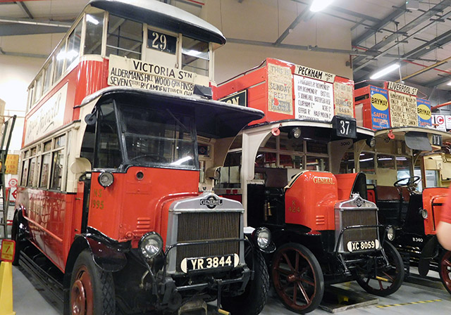 Vintage buses at the London Transport depot in Acton.