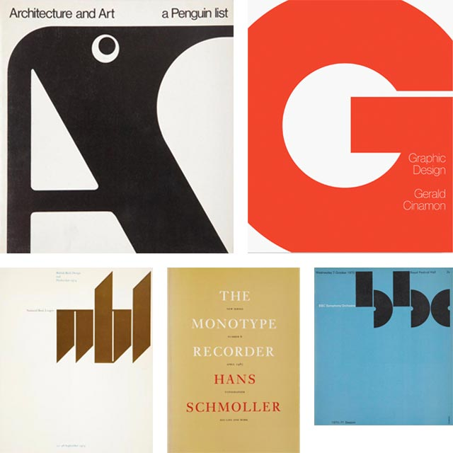 Work by graphic designer and typographer Jerry Cinamon.