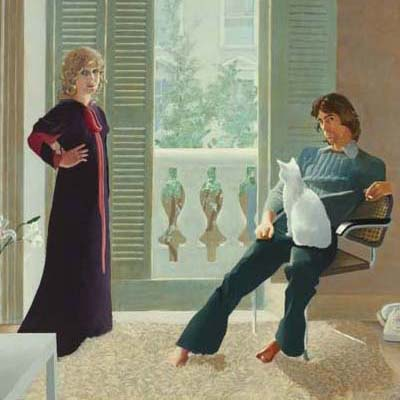 A detail from Mr and Mrs Clark and Percy by David Hockney