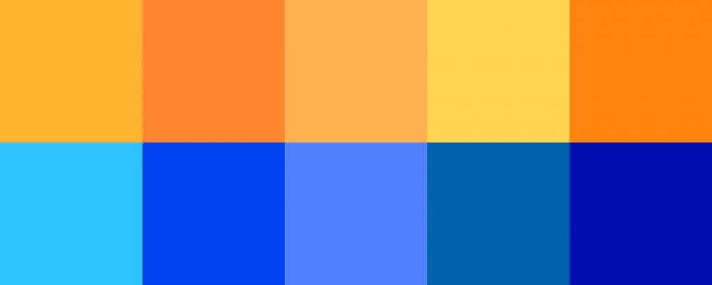 Orange and blue contrasting squares
