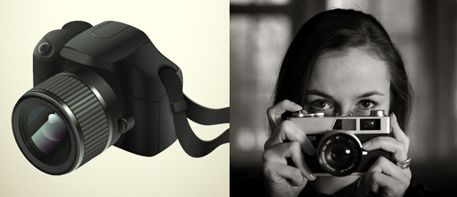 Camera isolated on a cream background (left) and girl holding camera (right).