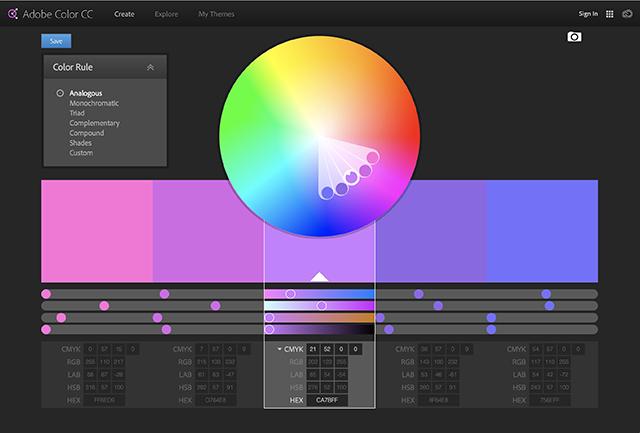 Analogous pastel colours