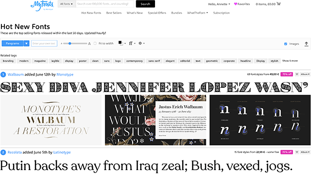 Hot New Fonts web page