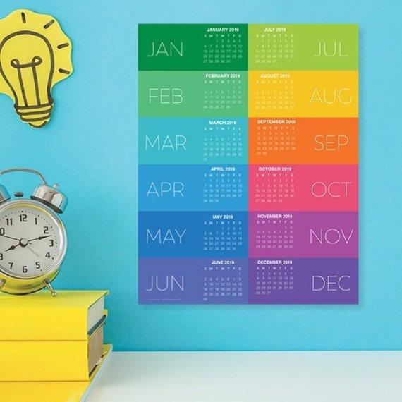 Colourful wall calendar