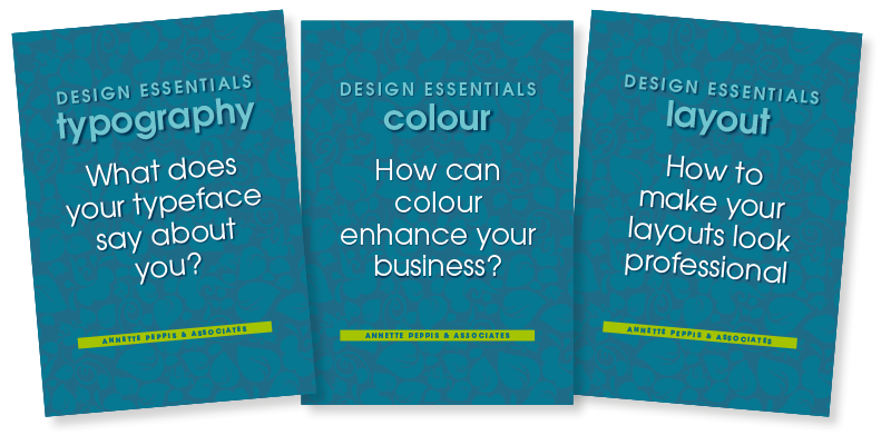 Three graphic design guides about typography, colour and layout.