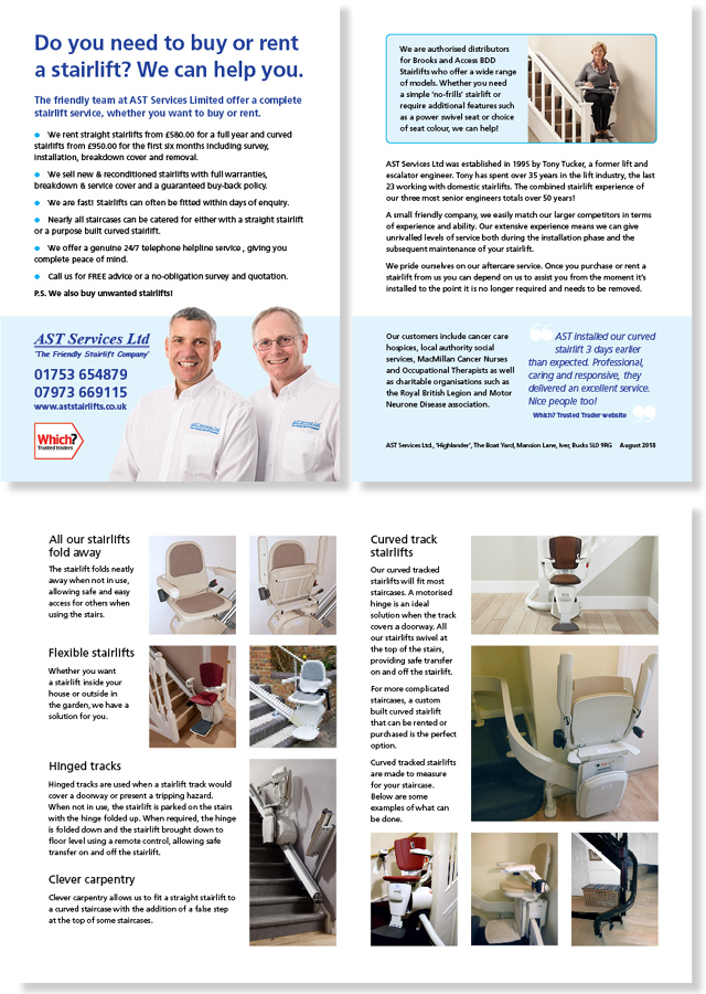 4-page brochure for AST Stairlifts