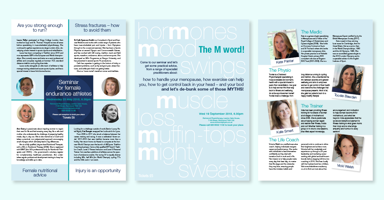 Some of the flyers we've designed for Richmond Physiotherapy, part of the design support offered by us.