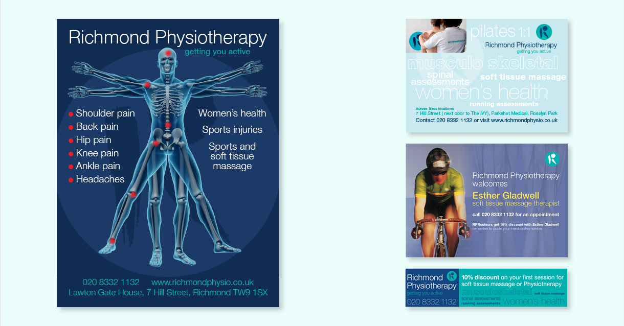 Posters and press ads for Richmond Physiotherapy, part of the design support offered by us.