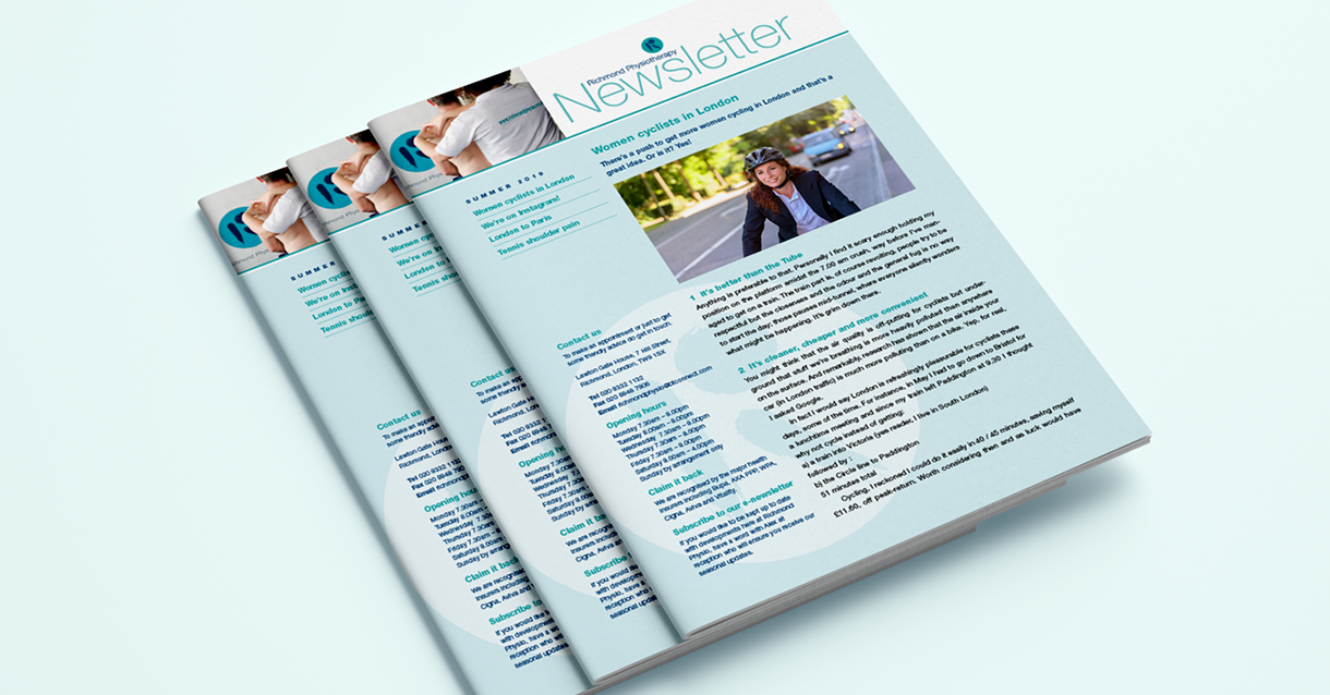 print newsletters designed for Richmond Physiotherapy as part of our design support