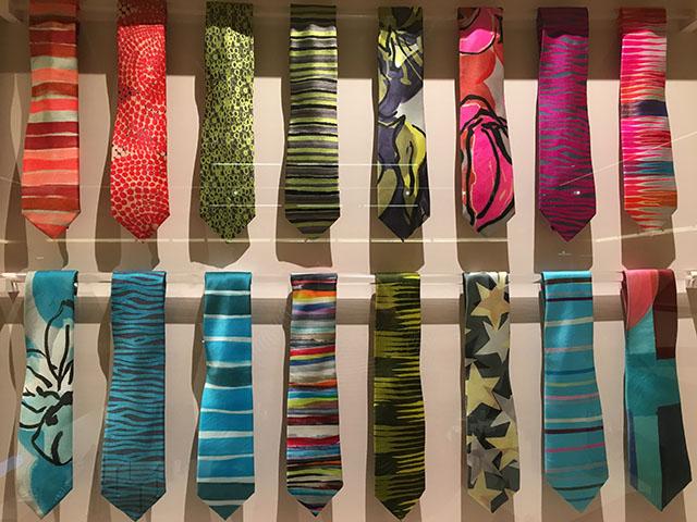 Colourful silk ties belonging to journalist Jon Snow