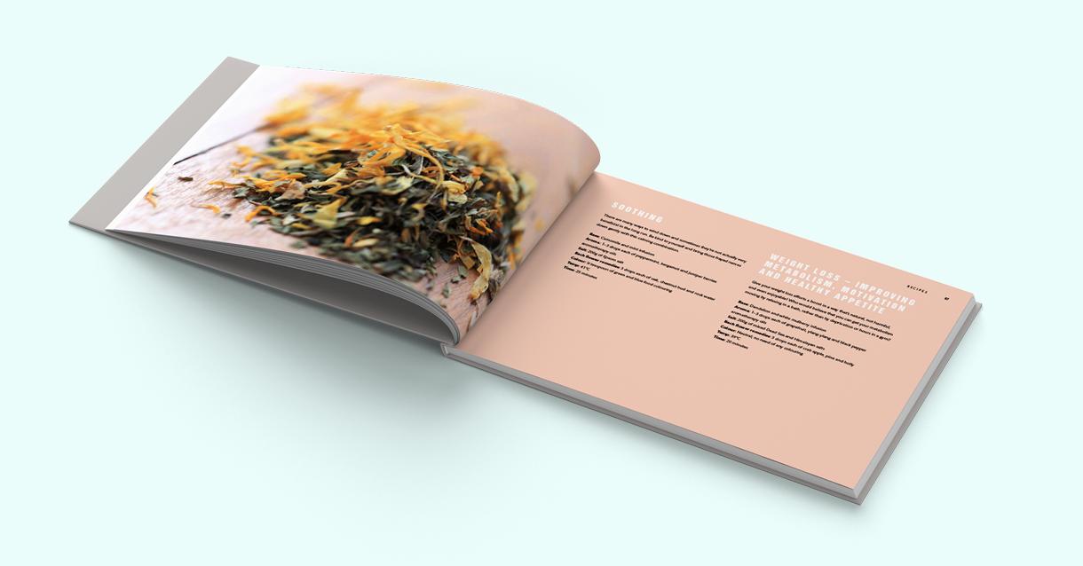 Design of a recipe spread in the book.