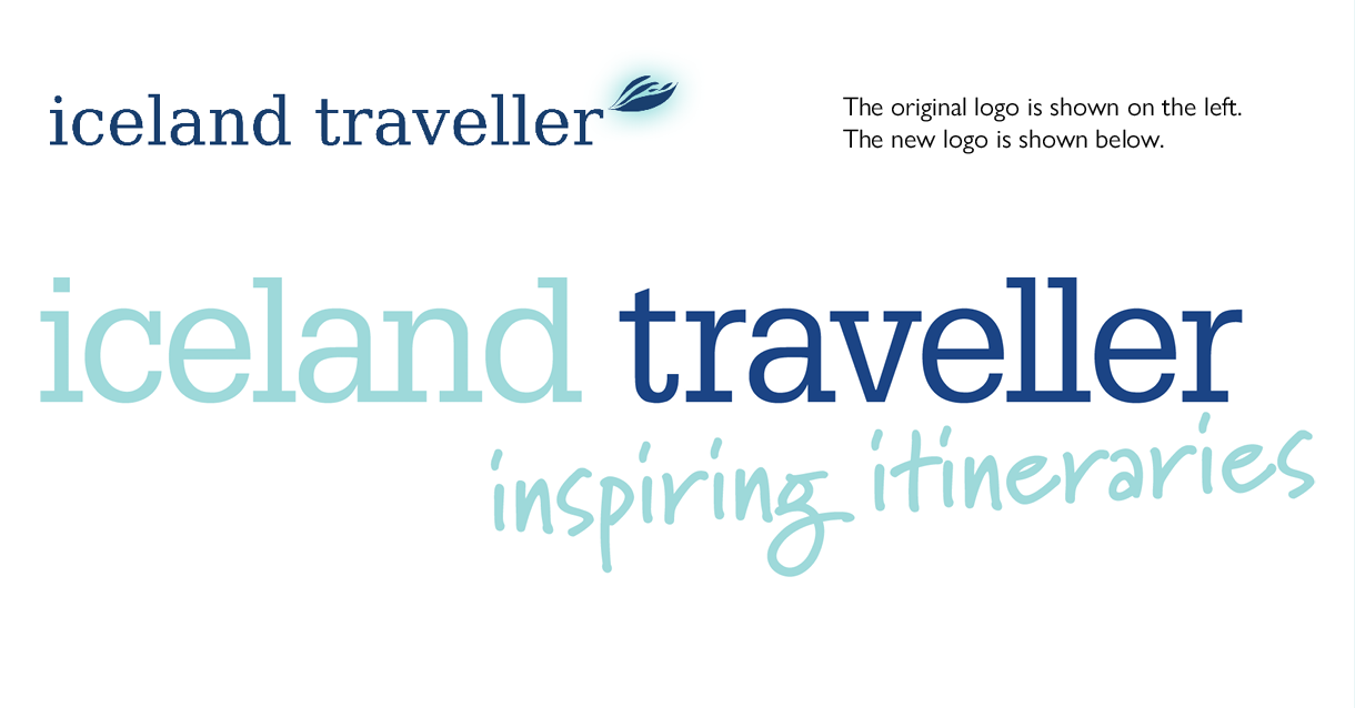 Comparison between old and new logo designs for Iceland Traveller.