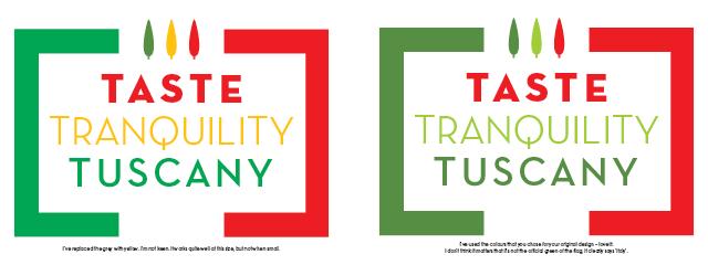 Taste Tranquility Tuscany logo design, third visual