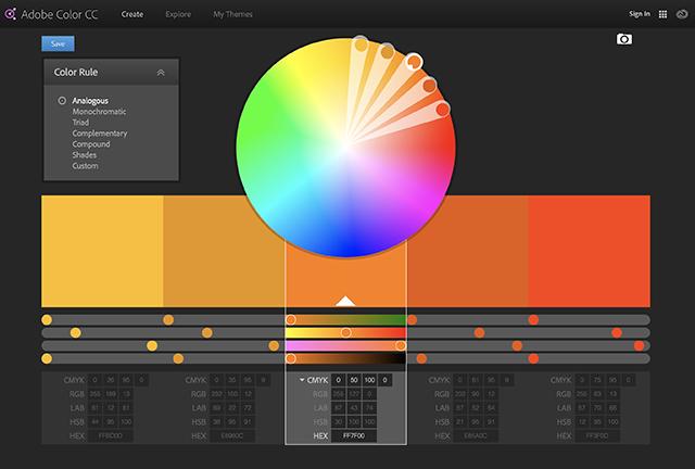 Analogous colours on the Adobe Colour Wheel