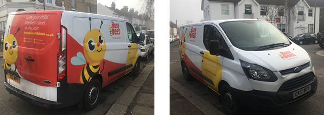 The new vans show consistency in the Busy Bees branding