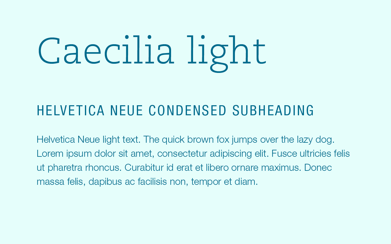 Font pairing of Caecilia and Helvetica