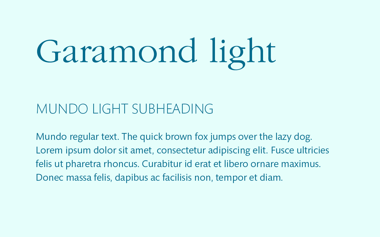 Font pairing of Garamond and Helvetica