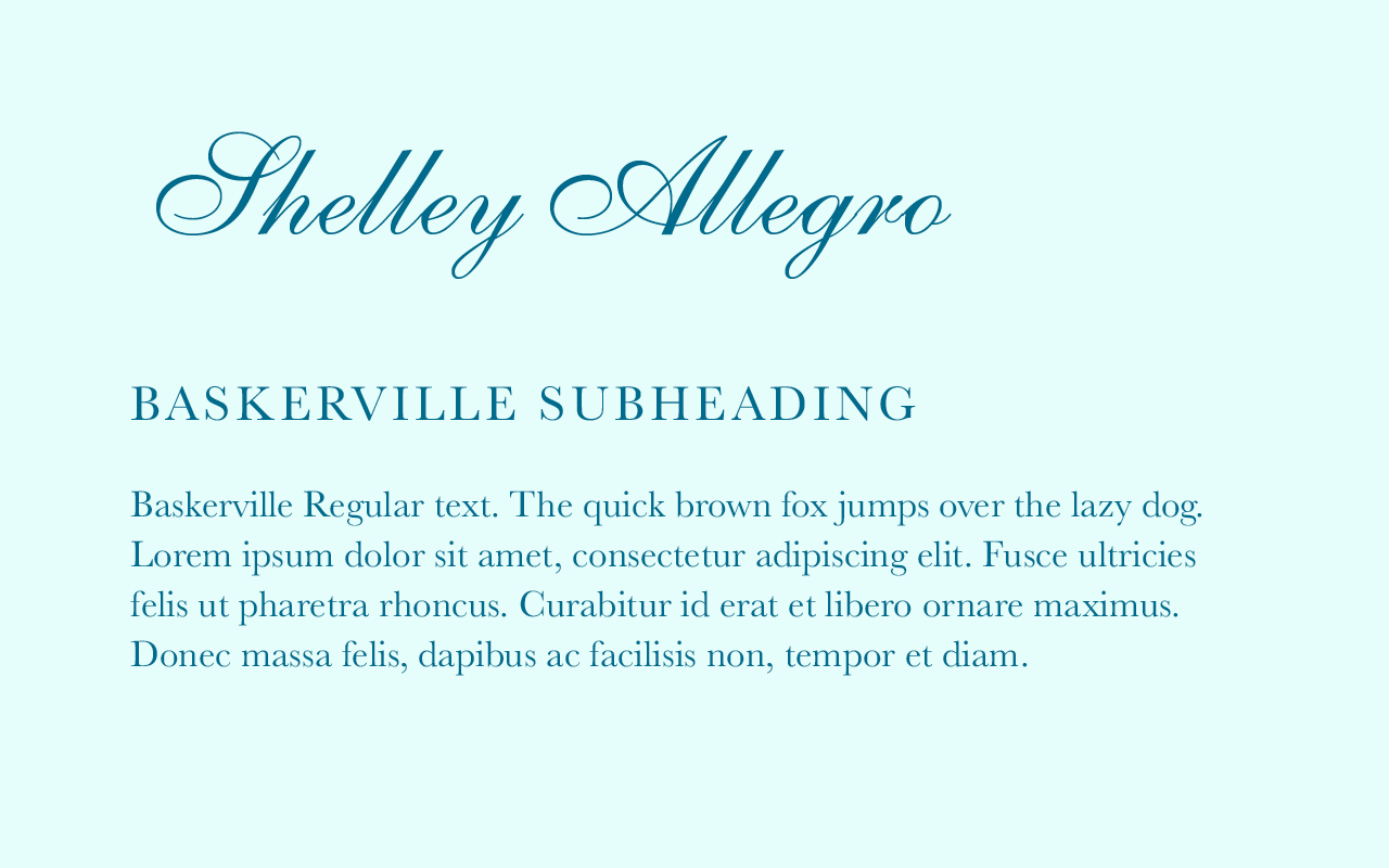Font pairing of Shelley Allegra and Baskerville