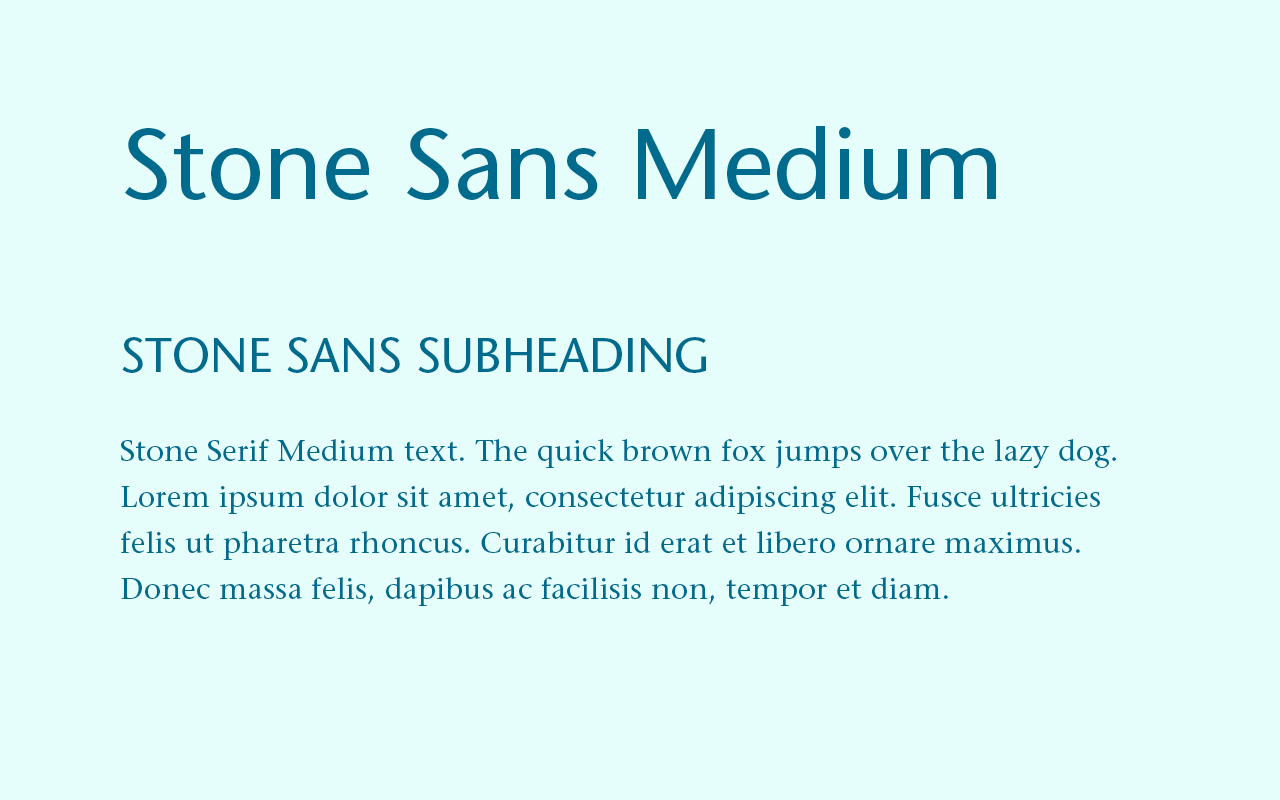 Font pairing of Stone Sans and Stone Serif