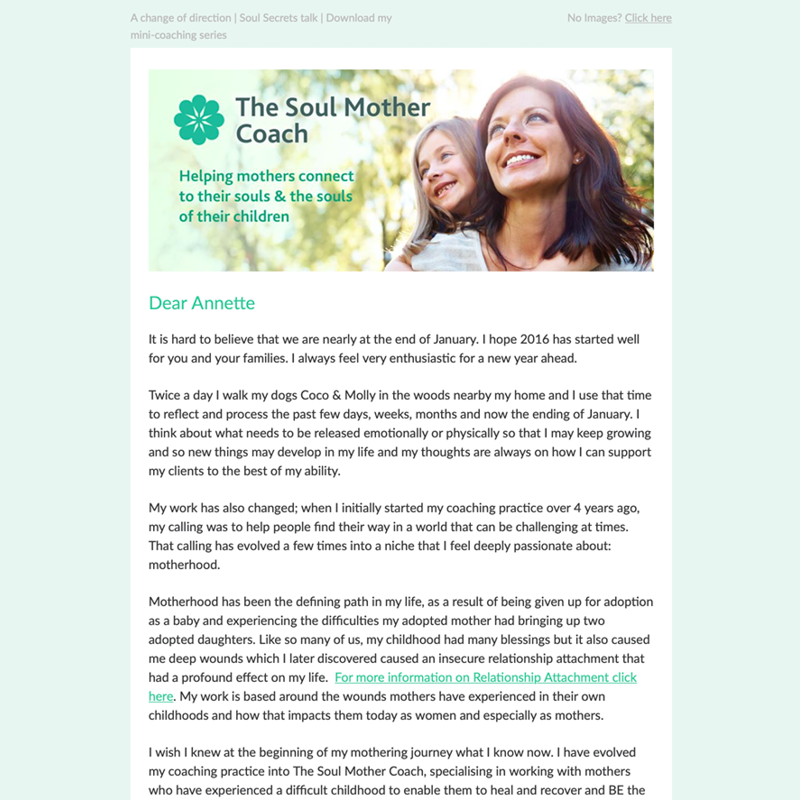 E-newsletter for a relationship attachment coach