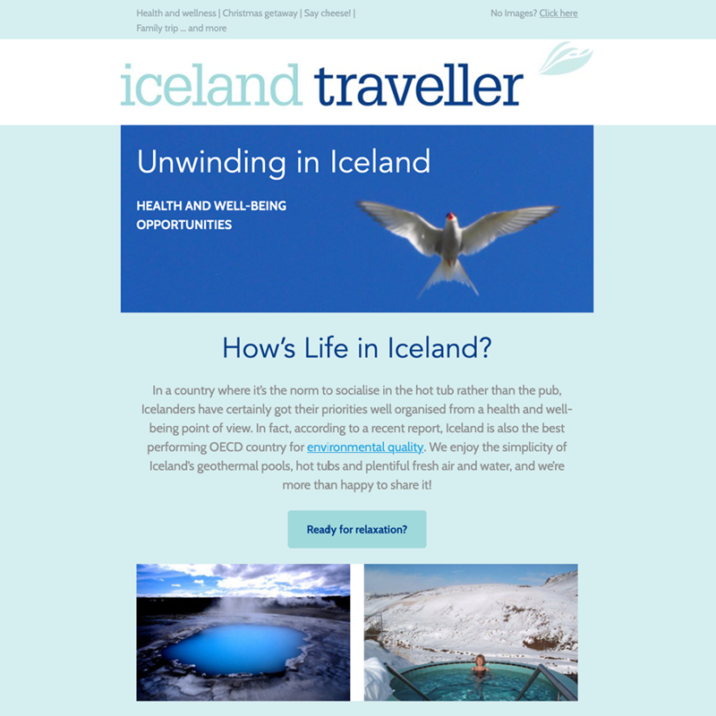 E-newsletter for a travel company specialising in Iceland