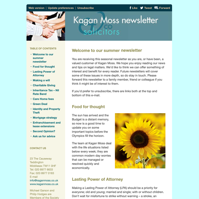 E-newsletter for a solicitor
