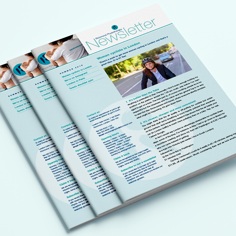 Print newsletter for a physiotherapy practice based in Richmond