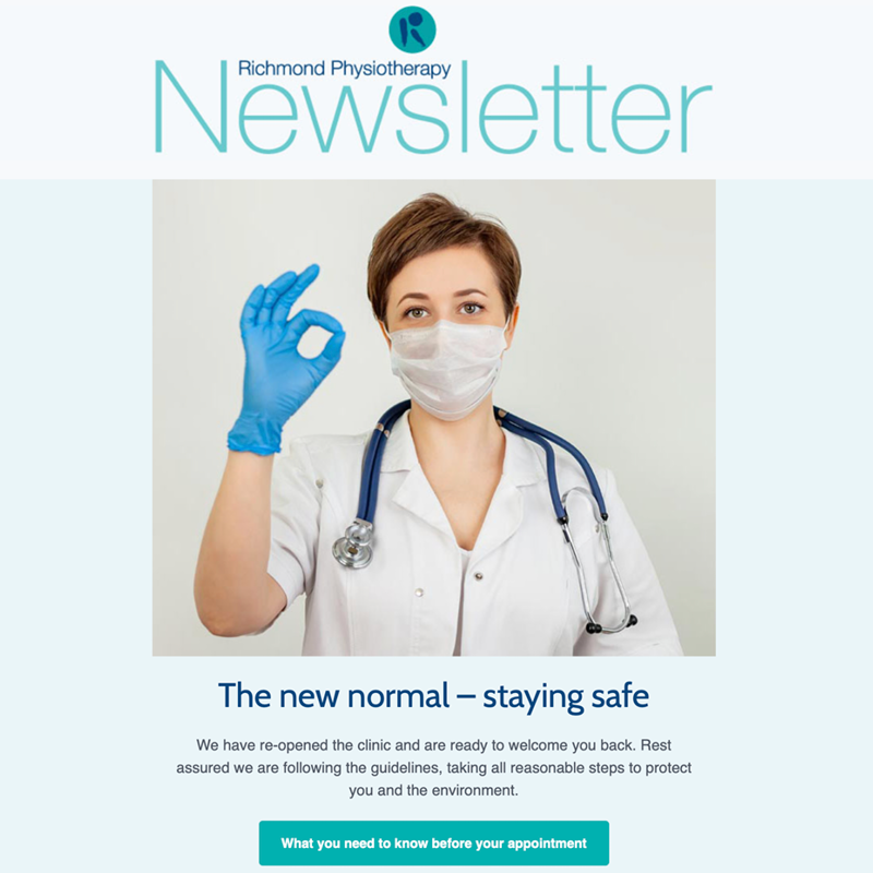 E-newsletter for a physiotherapy practice based in Richmond