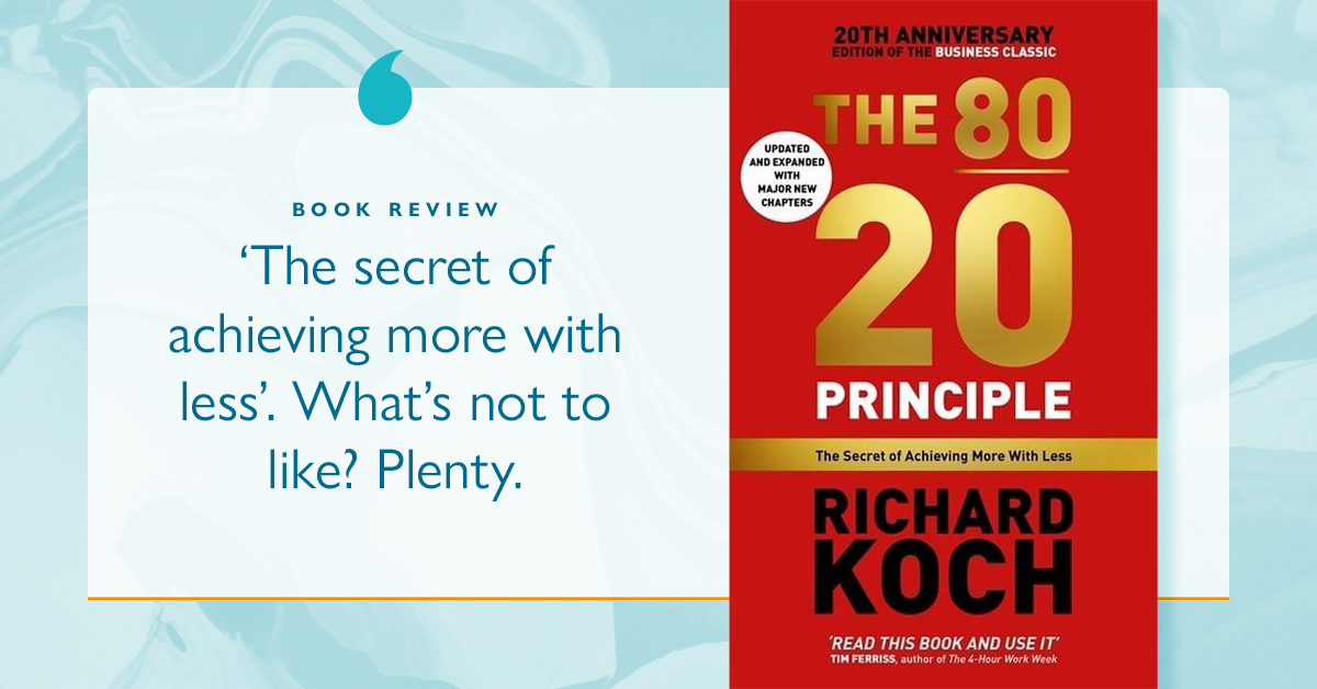 Business book review: The 80 20 Principle book cover and quote
