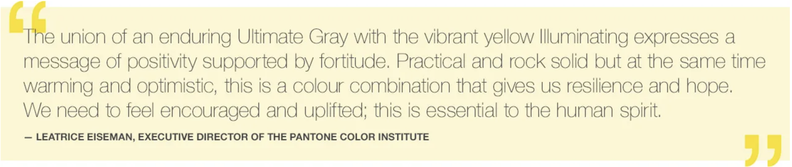 Pantone Colour of the Year 2021 quote