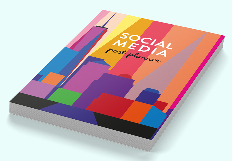Social media post planner with Manhattan Skyline cover