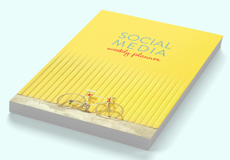 Social media weekly planner (yellow retro bicycle cover)