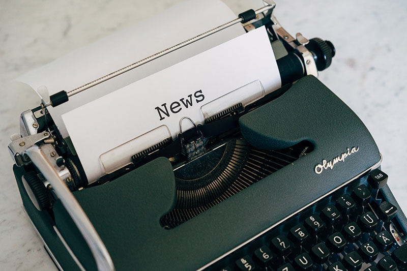 5 steps to writing a press release. Press release typed on an old-fashioned typewriter